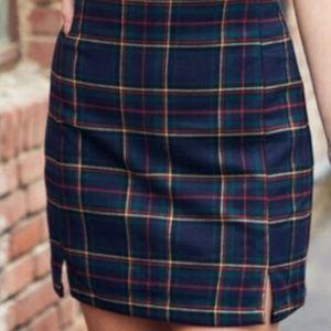 John Galt Plaid Navy Cara Skirt size small